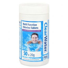 50 x 20g Clearwater 4 in 1 Multifunctional Swimming Pool Spa Chlorine Tablets